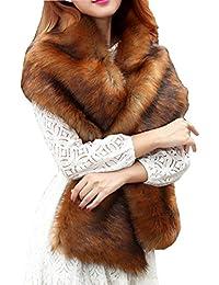 Capa Mujer Otoño Invierno Elegantes Moda Poncho De Piel Color Sólido Festiva Grueso Bastante Party Boda