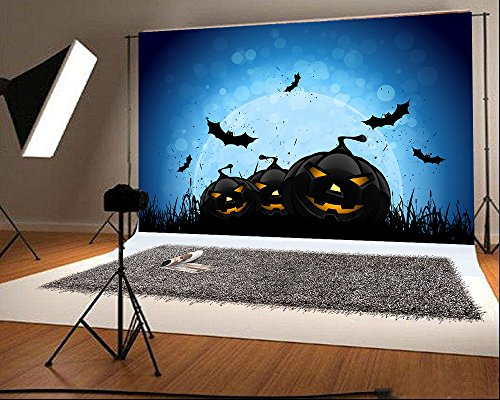Photography Hintergrund Schwarz Kürbis Gesicht Fledermaus Mond für Kind Foto Studio Hintergrund (Halloween-kürbis-gesichter, Fotos)