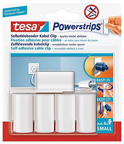 tesa Powerstrips® Kabel-Clip, selbstklebend, spurlos wieder ablösbar, weiß (2 Packung = 10 Clips) -