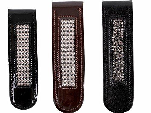 Stiefelclip Reitstiefel Accessoires Leder mit Strass-Ornamenten schwarz oder braun Farbe schwarz/silber
