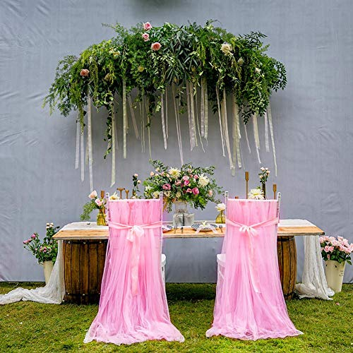 Stuhlhussen zum Selbermachen, 2 Stück, Spitze, Stuhldekoration, Hochzeitsdekoration, geeignet für Stühle, Bögen, Hochzeiten, Babypartys, Geburtstage, Bankette, Partys Rosa x 2 -