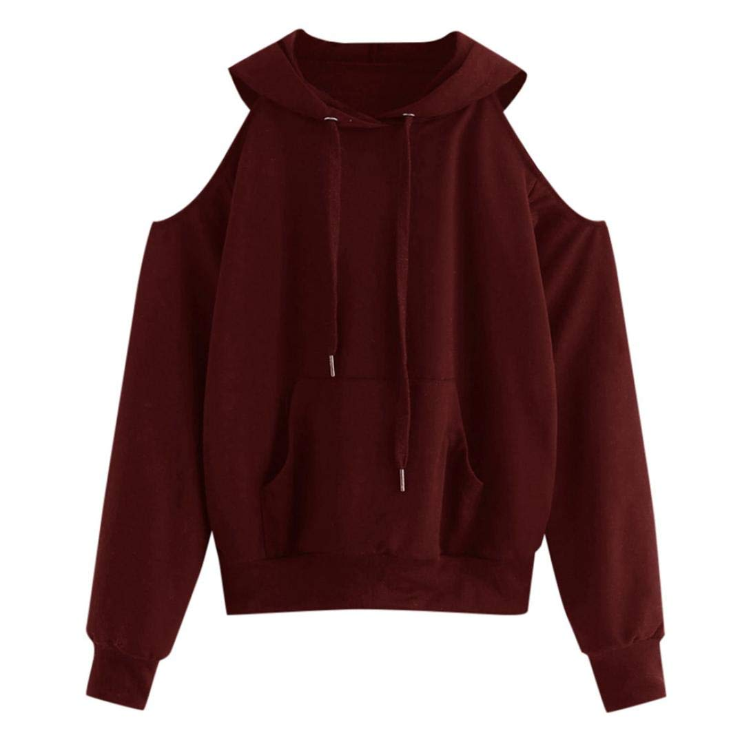2018 Newest Women Hoodies, Hevoiok Casual Fashion Sexy Off Shoulder Long Sleeve Solid Pocket Sweatshirt Pullover Tops