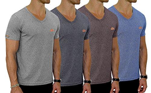 M.Conte Fitness T-Shirt Herren v Ausschnitt Sportstyle Kurzarm Tee Stickerei Logo V-Kragen Grün Blau Purple Marine M L XL XXL Carl Schwarz Navy