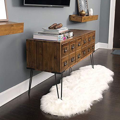 CUSHION Super Weich Weiß Faux Schaffell Teppiche Lammfell Pelz Stuhlkissen Sofa Mat Kaffetisch Teppich Perfekt Wohnzimmer Decke Zum Matratze,60x150cm(24x59inch) -