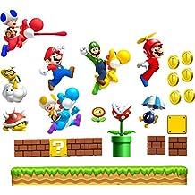 Grande Super Mario adhesivo de pared habitación de los niños arte de la pared Mario Luigi Yoshi Super Mario World chilrens sala de juegos decoración mural