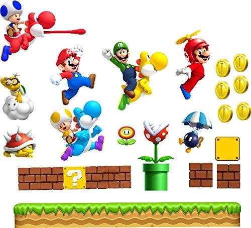 L Super Mario Wand Aufkleber jungen Schlafzimmer Wand Kunst Mario Luigi Yoshi Super Mario World Chilrens Spielzimmer Decor Wandbild