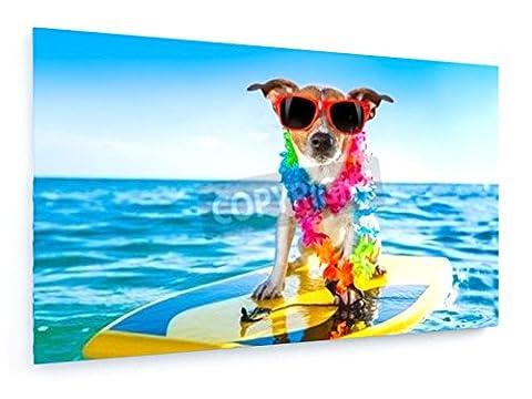 Surfin Hund - 100x60 cm - Textil-Leinwandbild auf Keilrahmen - Wand-Bild - Kunst, Gemälde, Foto, Bild auf Leinwand - Tiere
