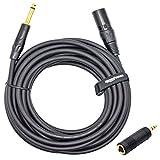 MutecPower Haute qualité câble de microphone 10 mètres XLR 3F femelle vers 1/4 TRS - 10m