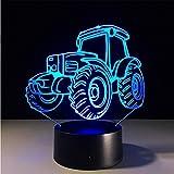Excavation du tracteur de bulldozer de véhicule de machines 3D 7 lampe de couleur visuelle menée lumière de nuit pour la table d'usb de contact d'enfants