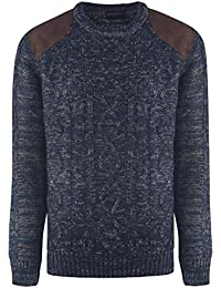 URBAN REVIVAL Mens Cable Sweater Jumper Crew Neck Blended Winter Warm