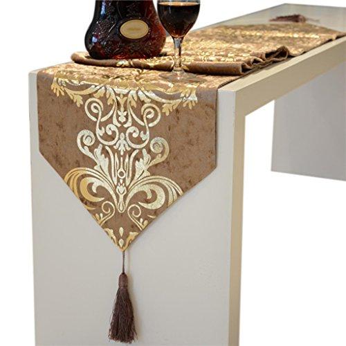 SESO UK- Barocco europeo Bronzing lusso Tabella Runner- Angolo tè Tovaglia -Tavolo Mat -Long Tovaglia, casa decorativo, Party, Camel ( dimensioni : 32*180cm ) - Paillettes Palla Ornamento