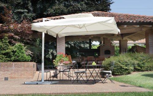 Ombrellone da giardino quadrato copertura 3x3 m. fusto bianco Ø 80 mm - con manovella ombrellone parasole per esterni moia con base a croce