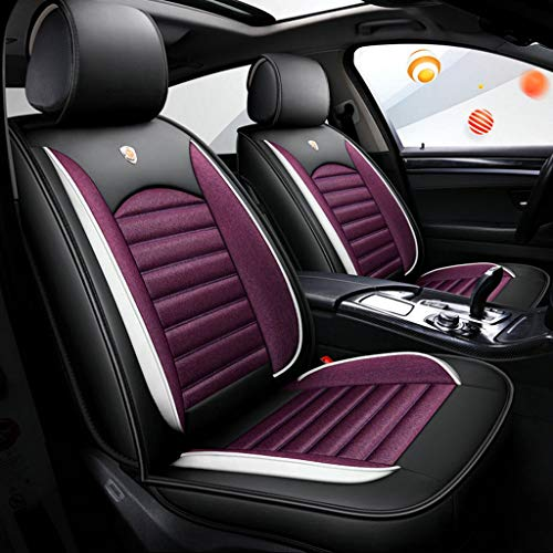 Autositzbezug, Vorne Hinten 5 Sitz Full Set Universal Leinen Leder Vier Jahreszeiten Pad Kompatibel Airbag Seat Protectors (Farbe : Lila) (Ford Auto-sitzbezüge Taurus)