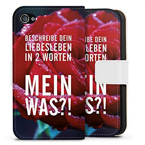 Apple iPhone X Silikon Hülle Case Schutzhülle Liebe Leben Sprüche Sideflip Tasche weiß