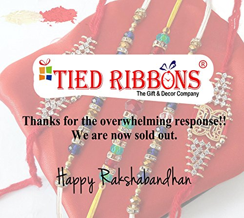 TiedRibbons® Special Rakhi Gifts for Brother Set of 5 Rakhi with Roli Chawal Pack