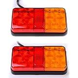 2 X Feux Arrière Lampe 12 LED Recul Freinage Stop Position Indicateur Tourner Signal Clignotant Avertissement Kit pour Remorques Camion Véhicules Automobile Bateau Caravane 12V