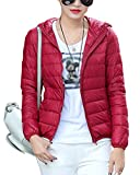 Warmen Outerwear Größe Damen Daunenjacke Kapuzen Packbar Ultra Leicht Gewicht Daunenmantel Rot M