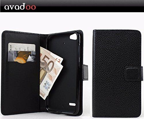 avadoo® Medion Life E5006 Flip Case Cover Tasche Schwarz mit Magnetverschluss und Dualnaht als Cover Tasche Hülle
