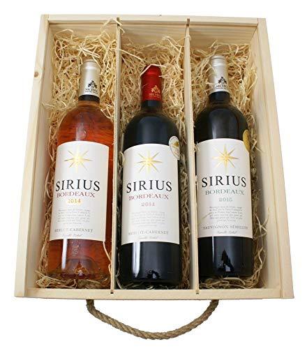 Wein Bordeaux Geschenkset mit Sirius Rotwein, Sirius Rosé und Sirius Weißwein 3 x 0.75 l in Holzkiste