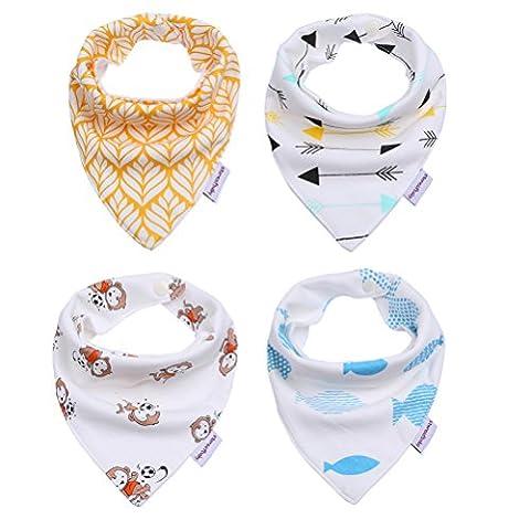 Storeofbaby bébé Bandana Bibs Motif pour les garçons / filles - Tétines, Nourrir, Dribble Burp Cloths - Élégant Baby Shower Gifts Set (Pack de 4) - Burping Panno Del Bambino