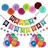 FUNXGO Décorations d'anniversaire Joyeux Anniversaire Décorations De Fête d'anniversaire Ensemble Bannière Guirlande Ballons Coloré Décor Trousse De Papier pour décoration d'anniversaire