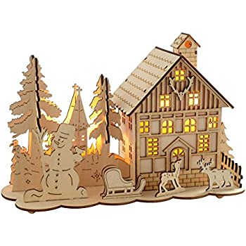 42cm house rustic wooden christmas village decoration with for Application deco interieur