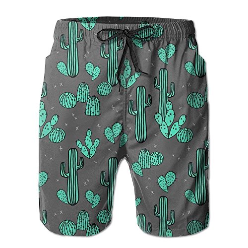 cleaer Cactus Sports Men Summer Surfing Quick-Drying Swim Trunks Shorts Beach Pants with Pocket Small -