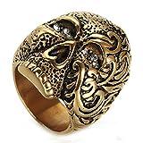 Quoouz Hombres Vendimia Flor Modelo Diamante Cráneo Titanio Acero Anillos,Oro,Tamaño 22