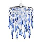 MiniSun – Eleganter Lampenschirm mit blauen und transparenten Tröpfchen aus Acryl im Kronleuchterstil – für Hänge-/Pendelleuchte
