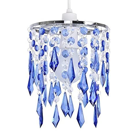 MiniSun - Elegant Chandelier Design Ceiling Pendant Light Shade With Beautiful Blue And Clear Acrylic Jewel Effect Droplets