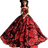 WayIn® Moda hechos a mano de la boda del partido Ropa, vestido vestido de traje para la muñeca de Barbie Peony rojo