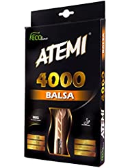 Atemi 4000 Tischtennisschläger (Balsaholz) Pro Offensive+ Ping Pong Schläger | Verbesserte Kontrolle, Geschwindigkeit, Rotation | Anfänger & Profis | 5-Schichten, Wettkampf Gummi