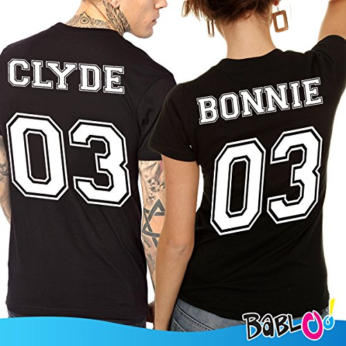 Coppia di T Shirt Personalizzate Bonnie Clyde Nere Uomo M Donna S