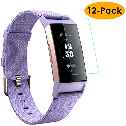 KIMILAR Displayschutzfolie Kompatibel mit Fitbit Charge 3 Schutzfolie [12 Stück], Volle Abdeckung Folie Flexibel Kristallklare Displayschutzfolie für Fitbit Charge 3 & Special Edition