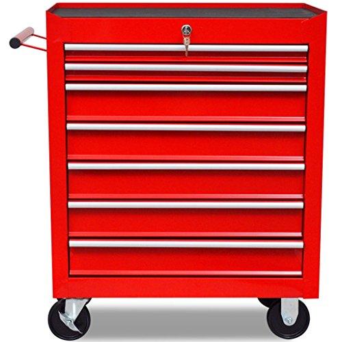 vidaXL Roter Werkstattwagen 7 Schubladen - 4