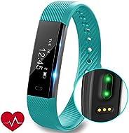 PJX Fitness Tracker Horloge met Hartslagmonitor, Slim Touch Screen en Polsbanden, Draagbare Waterdichte Activiteit Tracker S