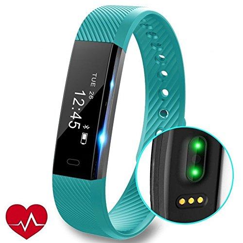 Fitness Tracker Uhr mit Pulsmesser, Slim Touch Screen und Armbänder, Wearable Waterproof Activity Tracker Schrittzähler für Android und iOS (Blau)