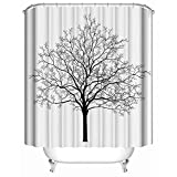 """Shower Curtain, Black And White Style Aged Winter Tree with Curved Body And Branches Illustration, Soft Polyester 