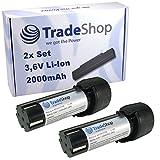 2x Trade-Shop Premium Li-Ion Akku 3,6V / 2000mAh für AEG 413184, SE 3.6, SE3.6, SL 3.6, SL3.6 Kompaktschrauber ersetzt 4935413165, 4932352969