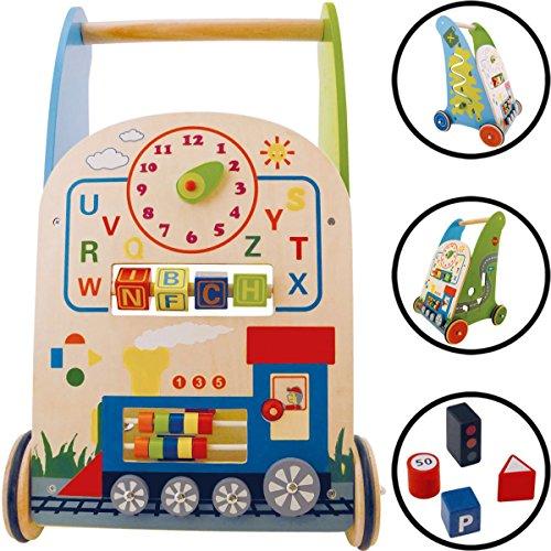 Baby Lauflernwagen/Lauflernhilfe aus HOLZ (Mit vielen Spielmöglichkeiten) 9m+