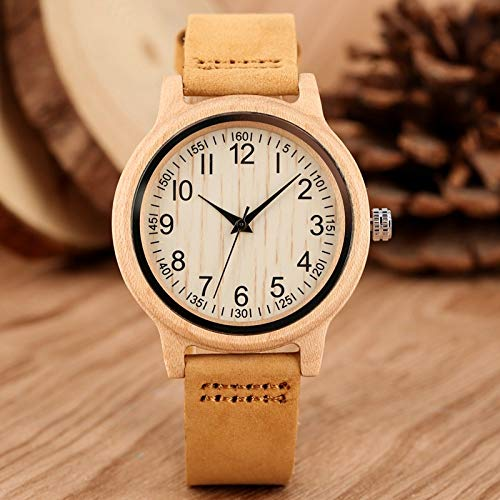 QMTFC Natural Bamboo Wooden Watches for Women, Precise Scale Wooden wristwatches, Band Quartz Watches for Women And Girls