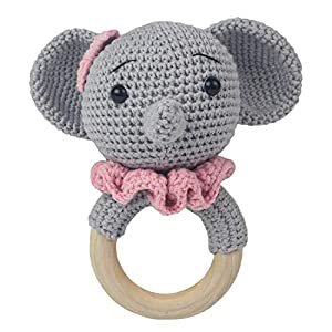 Häkel-Elefant – Amigurumi Greifling – Rassel – Ring aus Holz – Babyrassel – Geschenk für Babys – Mädchen – rosa – Babyspielzeug