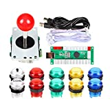 EG STARTS Zero Delay USB Encoder per PC Giochi Joystick Rosso + 10x LED Illuminato 5V Pulsanti per Arcade Joystick Kit Fai da Te Parti Mame Raspberry Pi 2 3 3B