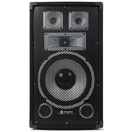 Skytec TX10 Standboxen Paar Passiv-Lautsprecherbox (je 150W RMS, 25cm (10 Zoll), Bassreflex, Stativ-Flansch) schwarz