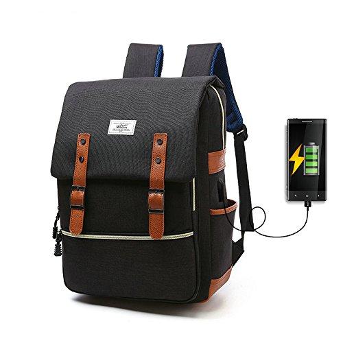 R203 15.6inch Computer Bag Casual Unisex Waterproof Oxford School Backpack Women/Men School Backpack Rucksack (Black) Casual Womens Oxford
