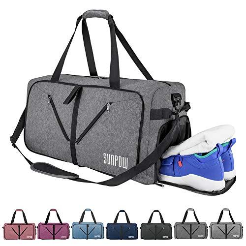 SUNPOW Faltbare Reisetasche, 115L Packbare Sporttasche mit Schuhfach Gym Fitness Tasche für Herren and Frauen Wochenend Handgepäck Tasche Reisegepäck mit Schulterriemen - 100% Robust