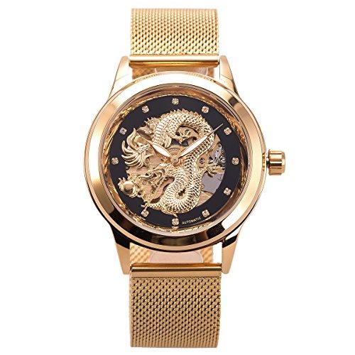 Mens Automatic Skeleton mechanische Uhr - ManChDa Mesh Band Luxus Business Casual Edelstahl analoge Uhr schwarz