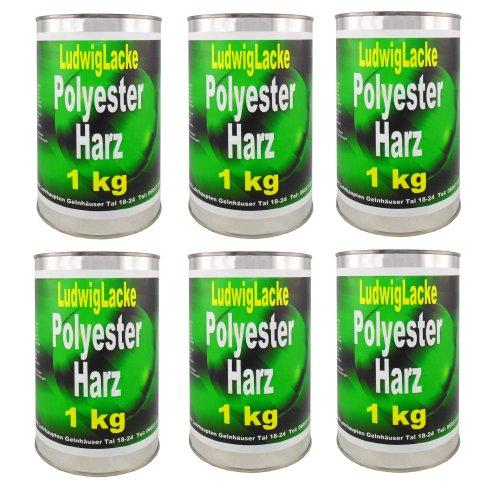 Preisvergleich Produktbild 6 x 1 kg Set Polyester Harz Epoxydharz für Boote und Autos Stoßstangen