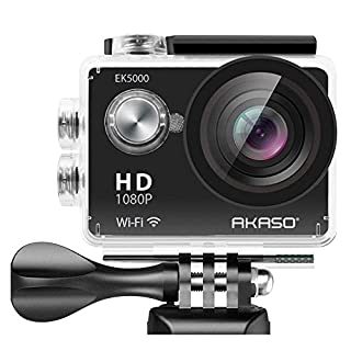 AKASO EK5000 1080P Sports Action Camera Full HD Camcorder 12MP WiFi Waterproof Camera 2 Inch LCD Screen 170 Degree Wide View Angle With 2 Rechargeable Batteries (19 Accessories)