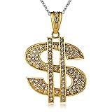 AmDxD Edelstahl Herren Halskette Dollarzeichen Anhänger Freundschaftsketten Gothic Herrenkette Gold mit Weiß Zirkonia